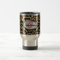 Leopard Print Monogram Travel Mug