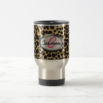 Leopard Print Monogram Travel Mug