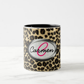 Leopard Print Monogram Two-Tone Coffee Mug
