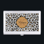 """Leopard Print Monogrammed Business Card Cases<br><div class=""""desc"""">Stylish leopard print custom monogrammed business card case.  Click the &quot;Customize It!&quot; button to change the text size,  text color,  font style and more!  Makes a great gift for all occasions.</div>"""