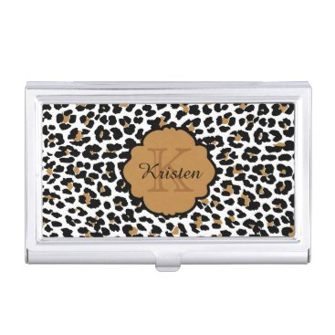 Professional Business Leopard Print Monogrammed Business Card Cases