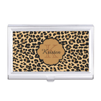 Leopard Print Monogrammed Business Card Cases