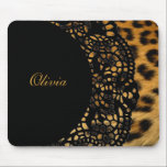 """Leopard Print Mousepad<br><div class=""""desc"""">Chic mousepad features leopard print embellished with a black lace doily personalized with your name.</div>"""