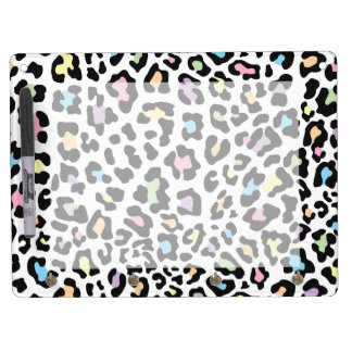 Leopard Print Multi Colors Dry Erase Board With Keychain Holder