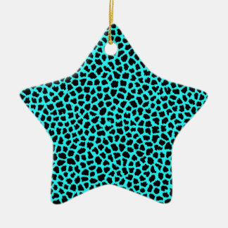 Leopard Print Neon tBlue Ceramic Ornament