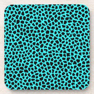 Leopard Print Neon tBlue Drink Coasters
