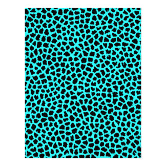 Leopard Print Neon tBlue Custom Letterhead