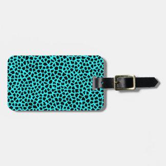 Leopard Print Neon tBlue Luggage Tag