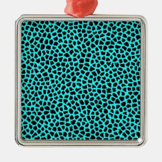 Leopard Print Neon tBlue Metal Ornament
