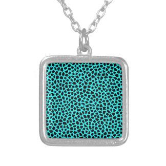 Leopard Print Neon tBlue Square Pendant Necklace