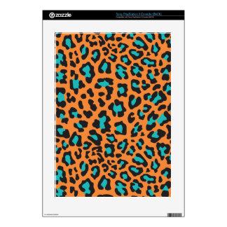 Leopard Print Orange, Black, Aqua Decals For PS3