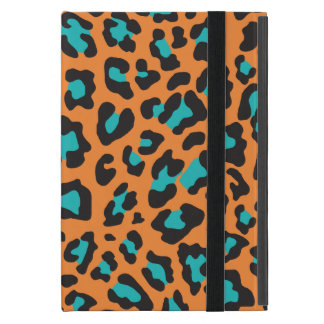 Leopard Print Orange, Black, Aqua Covers For iPad Mini