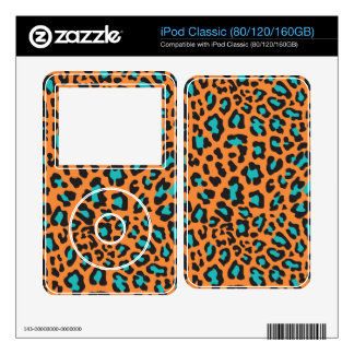 Leopard Print Orange, Black, Aqua iPod Skins