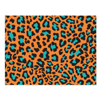 Leopard Print Orange, Black, Aqua Postcard