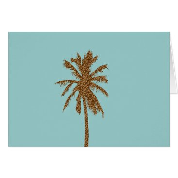 Beach Themed Leopard Print Palm Tree Card