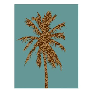 Beach Themed Leopard Print Palm Tree Postcard