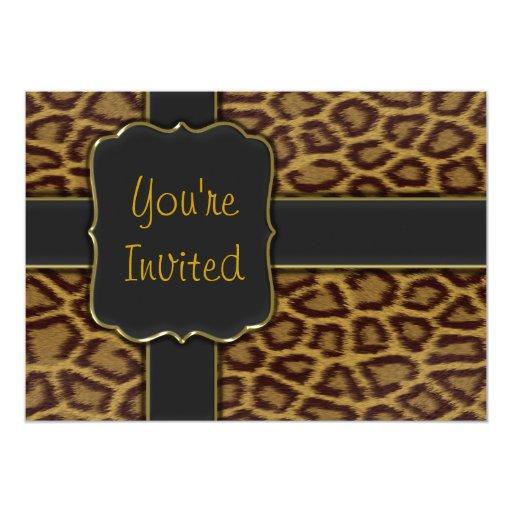 leopard print invitations templates - leopard print party invitation template zazzle