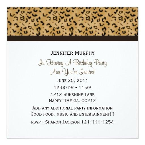 """Leopard Print Party Invitations 5.25"""" Square Invitation Card"""