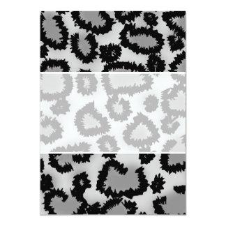 Leopard Print Pattern, Black and Gray. 5x7 Paper Invitation Card