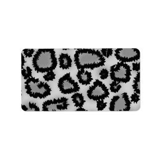 Leopard Print Pattern Black and Gray Custom Address Labels