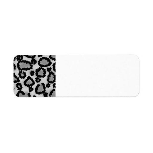 Leopard Print Pattern, Black and Gray. Custom Return Address Labels