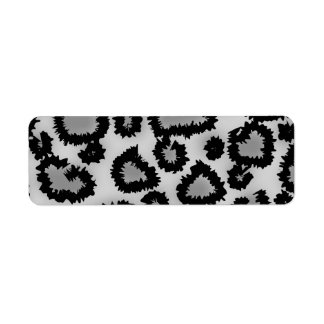 Leopard Print Pattern Black and Gray Return Address Labels