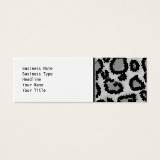 Leopard Print Pattern, Black and Gray. Mini Business Card