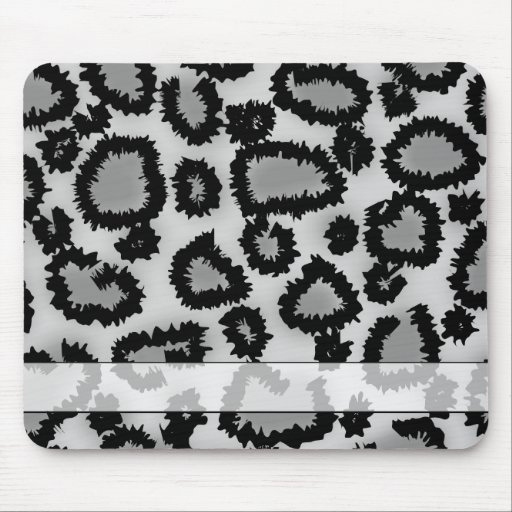 Leopard Print Pattern, Black and Gray. Mouse Pad