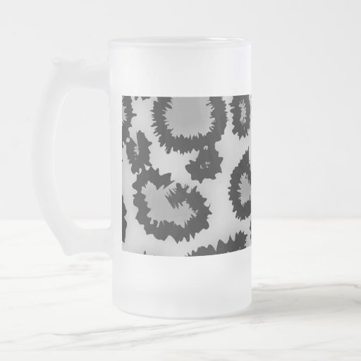 Leopard Print Pattern, Black and Gray. 16 Oz Frosted Glass Beer Mug
