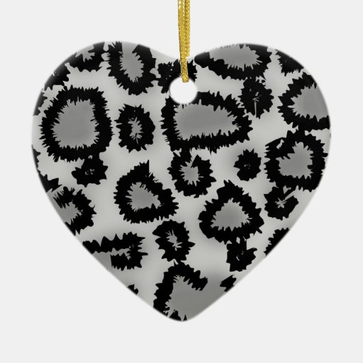 Leopard Print Pattern, Black and Gray. Double-Sided Heart Ceramic Christmas Ornament