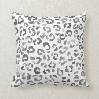 Leopard print pattern black watercolor hand paint throw pillow