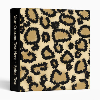Leopard Print Pattern Brown and Black Vinyl Binder