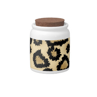 Leopard Print Pattern, Brown and Black. Candy Jars