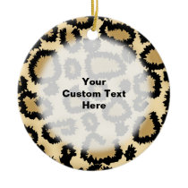Leopard Print Pattern, Brown and Black. Ceramic Ornament