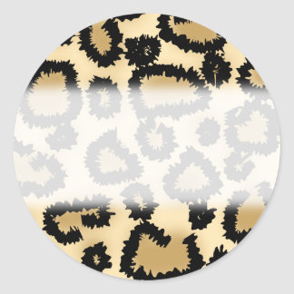 Leopard Print Pattern, Brown and Black. Classic Round Sticker