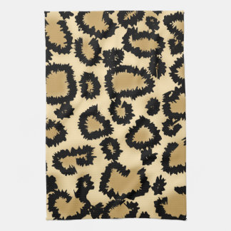 Leopard Print Pattern, Brown and Black. Hand Towel