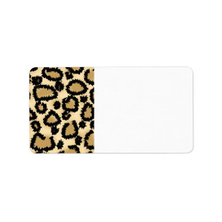 Leopard Print Pattern Brown and Black Personalized Address Label