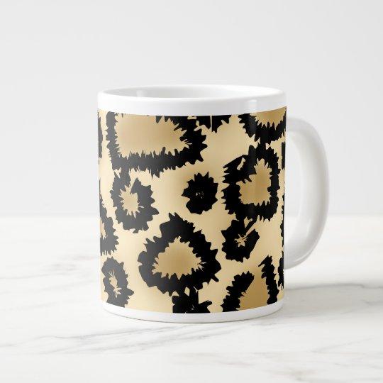 Leopard Print Pattern, Brown and Black. Large Coffee Mug