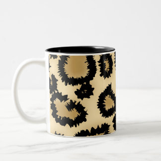 Leopard Print Pattern, Brown and Black. Two-Tone Coffee Mug