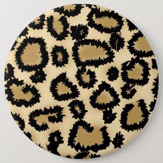 Leopard Print Pattern, Brown and Black. Pinback Button