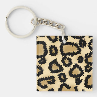 Leopard Print Pattern, Brown and Black. Single-Sided Square Acrylic Keychain