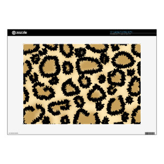 "Leopard Print Pattern Brown and Black Decal For 15"" Laptop"
