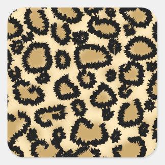 Leopard Print Pattern, Brown and Black. Square Sticker