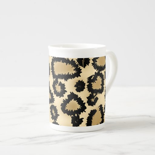 Leopard Print Pattern, Brown and Black. Tea Cup