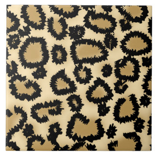 Leopard Print Pattern Brown and Black Tiles
