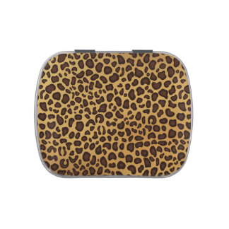 Leopard print pattern candy tin
