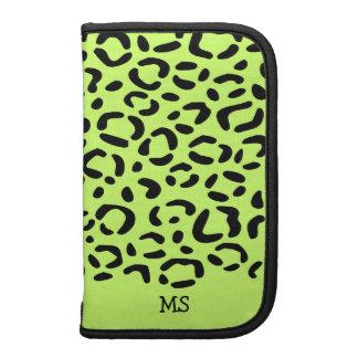 Leopard Print Pattern Custom Initials Lime Green Organizers
