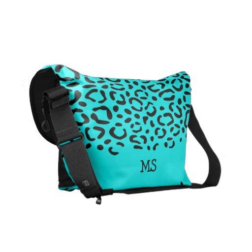 Leopard Print Pattern Custom Initials Neon Blue Messenger Bags