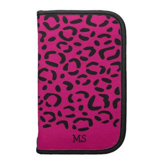 Leopard Print Pattern Custom Initials Pink Organizer