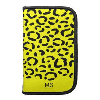 Leopard Print Pattern Custom Initials Yellow Organizers